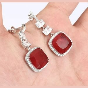 HUGE ruby, sapphire & Topaz sterling earrings